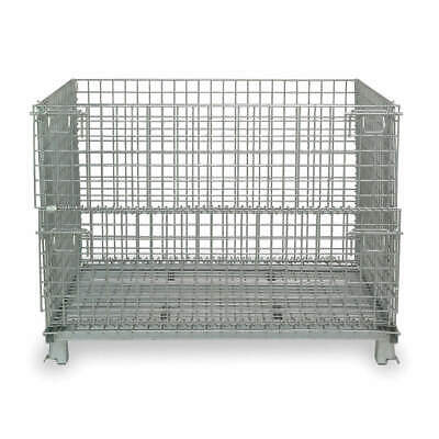 NASHVILLE WIRE Steel Wire Mesh Collapsible Container,20 In L,Silver, JR1, Silver