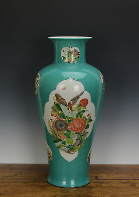 Tall Chinese Famille Verte Floral Turquoise Ground Porcelain Vase