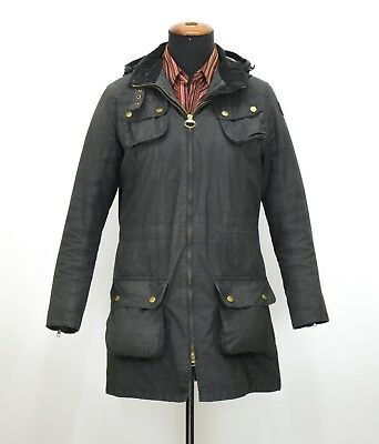 Womens Barbour International Wax Parka Jacket Black Hooded Size 14UK
