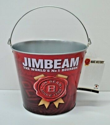 Jim Beam Bourbon Make History Band New Metal Drinks Ice Chill Bucket With Handle