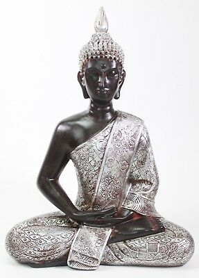"Feng Shui 11"" Black and Silver Meditating Peaceful Buddha  Home Decor Statues"