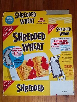 Automatic Phone Index Offer Shredded Wheat Cereal Box 1970's Nabisco