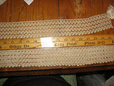 Vintage Crocheted Embroidered Pillowcase Borders HAND MADE  Lace Trim E1