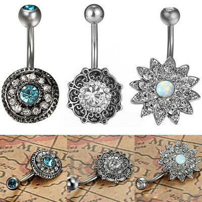3Pcs Flower Belly Button Ring Navel Barbell CZ Stainless Steel Body Piercing USA