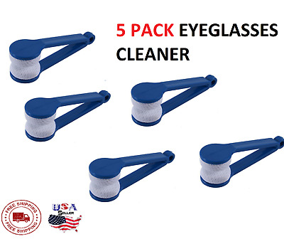 5 Pcs Blue Modern Mini Eyeglasses Sunglasses Cleaner All In One Cleaning Tool