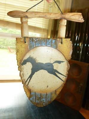 "2004 Art Pottery Running Horse 10"" Wall Plaque Native American Style Signed"