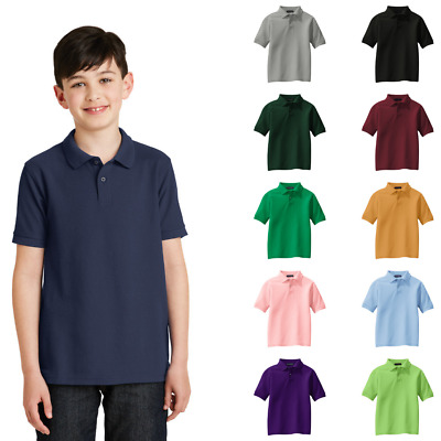 Youth Silk Touch Polo Dress Code School Uniform Wrinkle Resist Vented Shirt Y500