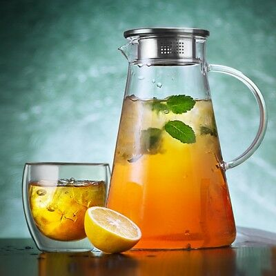 1.8 L Glass Pitcher Jug Water Juice Tea Carafe Cold Drinks With Stainless Lid
