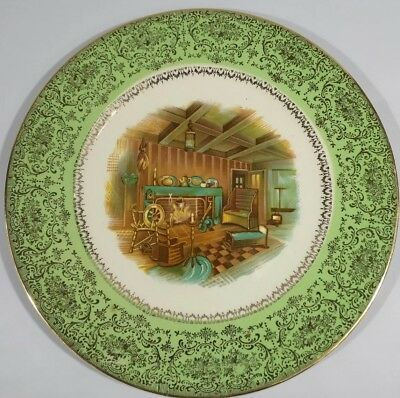 Green Dinner Plate Salem China Century Colonial Fireside