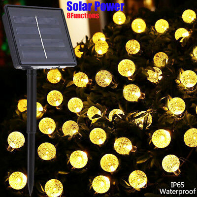 Solar Powered 8 modes 5M 20LEDs Bubble crystal ball Waterproof LED String Light