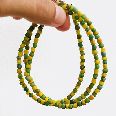 Rare Ancient Green And Yellow Indo-Pacific Trade Glass Bead #215