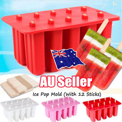 10 Frozen Ice Cream Silicone Mold Popsicle Yogurt Icebox Mould 12 Sticks Lid NW