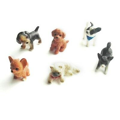 6pcs 1:12 Cat And Dog Dollhouse Miniature Model Doll House Home Moss Decoration