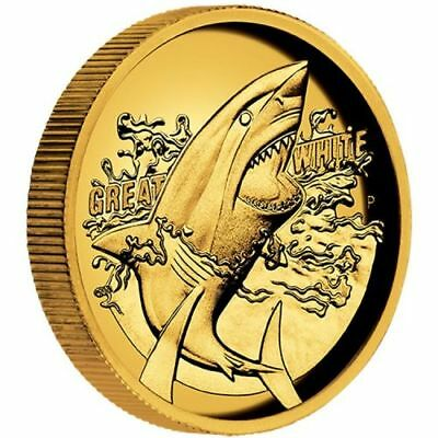 NEW Perth Mint Great White Shark 2015 1oz Pure Gold High Relief Coin