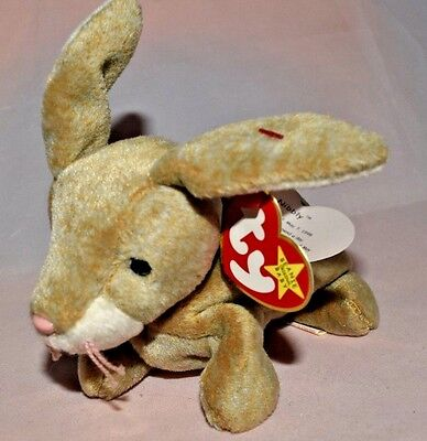 """Ty Beanie Baby ~ """"NIBBLY"""" the Brown Bunny Rabbit ~ tag errors"""