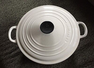Vintage Le Creuset #26 White Enameled Cast Iron 5.5 Qt. Dutch Oven w/Lid France