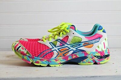 huge selection of 1c50f e4a0c RARE Asics Gel Noosa Tri 7 Neon Pink GLOW IN DARK T264N 205 Women size 11