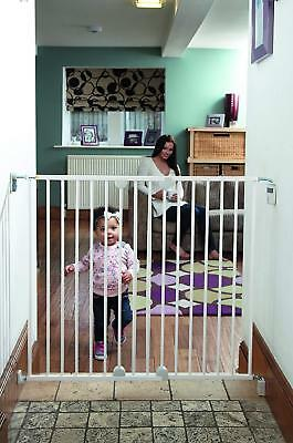 Baby Child Safety Gate Wall Fix Wide Metal Extending Kids Stairway Fence White