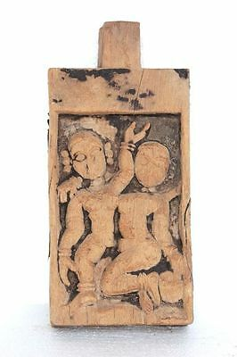 Old Vintage Rare Wooden Carved Male Female Panel Collectible Q-80