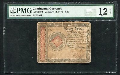 Cc-92 January 14, 1779 $20 Twenty Dollars Continental Currency Note Pmg F-12