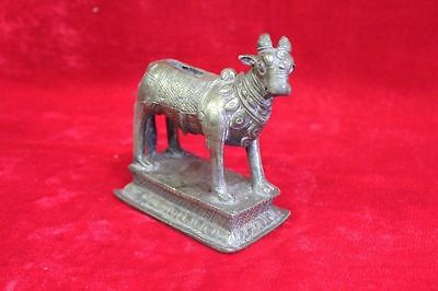 1900's Old Vintage Antique Brass Nandi Statue Home Decor Collectible PH-80