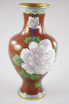 ANTIQUE 19th Century CHINESE ENAMEL RED CLOISONNE SMALL VASE