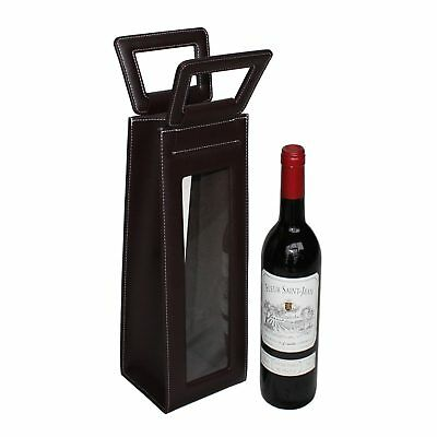 Leather Red Wine carrier bag brown Gift Bags for single bottle