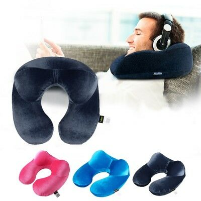 Portable Travel Inflatable U Shape Neck Pillow Blow Up Neck Cushion PVC Flocking