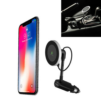 360° Rotation Magnetic Car Qi Wireless Phone Charger Holder Black With USB Port