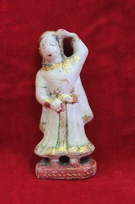 1900s Old Vintage Antique Rare Marble Queen Figure Gold Work Collectibles PH-69