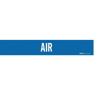 BRADY Vinyl Pipe Marker,Air,Blue,2-1/2 to 7-7/8 In, 7006-1