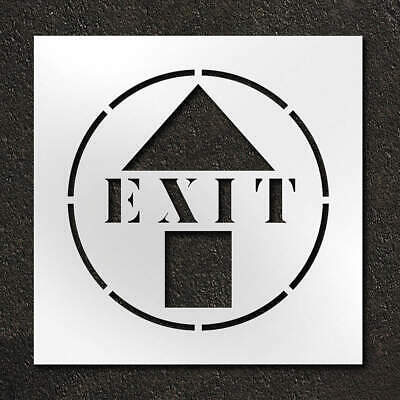 RAE Polyethylene Stencil,Exit With Arrow,24 in, STL-116-12405, Clear