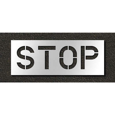 RAE Polyethylene Pavement Stencil,Stop,12 in, STL-116-71203, Clear