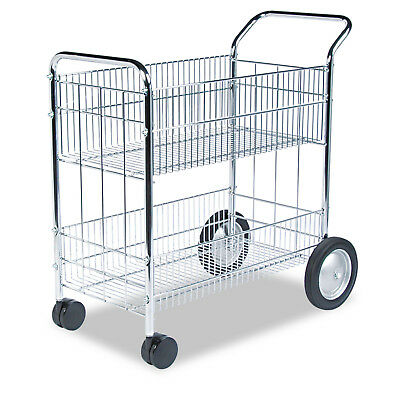 Fellowes Chrome-Plated Wire Mail Cart 200 lb Capacity Caster Steel Stainless New
