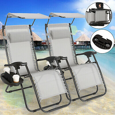 Outdoor Folding Zero Gravity Chair Lounge Beach Patio Recliner 2 pcs