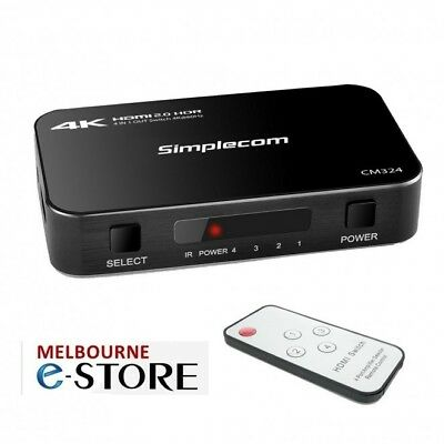 Simplecom CM324 4 Way HDMI Switch Remote 4 In 1 Out Splitter 60Hz UHD 4K