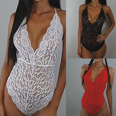Women Lace Teddy Lingerie Sleepwear Nightwear Unitard Undies Panties Bodysuit