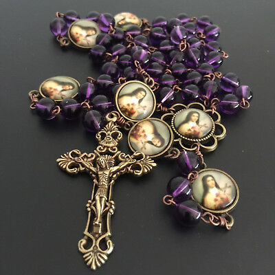 Vintage AMETHYST BEADS ST.THERESE ROSARY CROSS CRUCIFIX CATHOLIC NECKLACE BOX