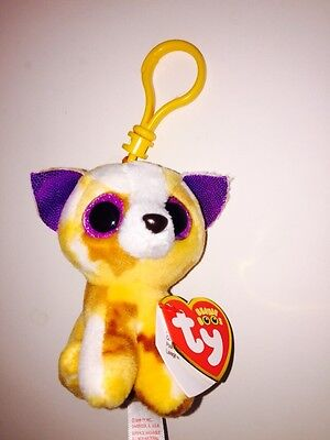 NEW W//TAG-SUPER CUTE-**IN HAND** TY PATCHES LEOPARD BEANIE BOOS KEY CLIP