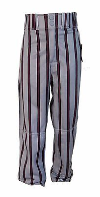 Worth Pro Striped Baseball Trousers Pants (Grey/Maroon) - Youth M (9-10 Years)
