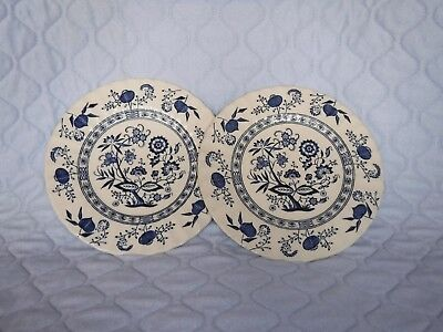 J & G MEAKIN  white and blue Nordic design plate x pair