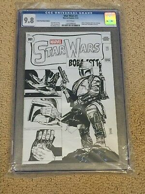 Star Wars 1 CGC 9.8 White Pages Boba Fett ToS 39 Cover Swipe- Sketch Cover