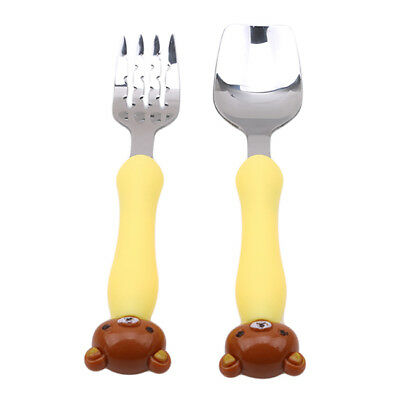Baby Kids Stainless Steel Cartoon Handle Cutlery Flatware Fork & Spoon Set N7
