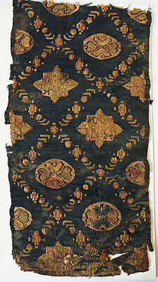 4-5C Ancient Coptic Textile Fragment - Flower Pattern, Christian Arts