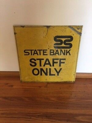State Bank of Victoria RARE collectible sign - State Bank Staff ONLY