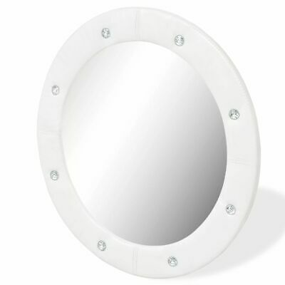 vidaXL Wall Mirror Artificial Leather 60cm Glossy White Bathroom Makeup Vanity