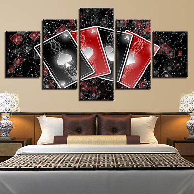 5 Panel Red Black Poker Canvas HD Prints Painting Wall Art Home Decor