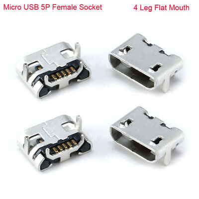 Micro USB B Type 5P Short Pin DIP 4 Leg Flat Mouth Female Socket Connector Jack