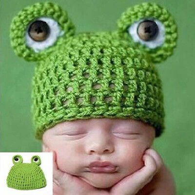 Newborn Baby Cute Crochet Knit Green Frog Hat Costume Outfit Photography Props