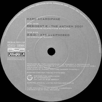 "12"": Marc Acardipane - Resident E - The Anthem 2001 - Resident E Recordings - RE"